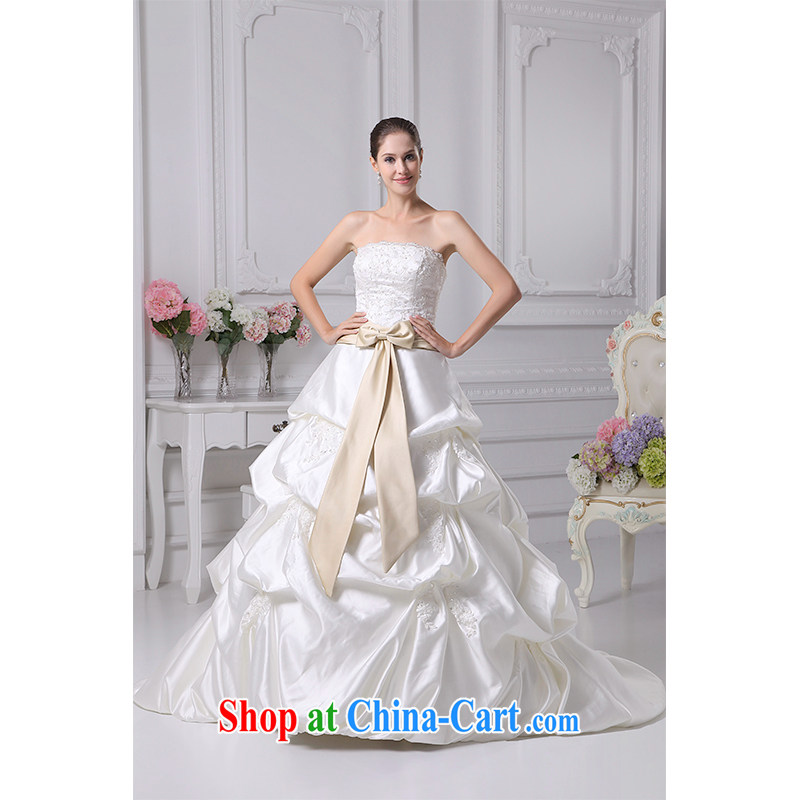 The beautiful yarn 2015 new erase chest small tail bubble wedding beauty lace graphics thin plain manual staple Pearl strap wedding dresses factory direct custom package mail white customizable