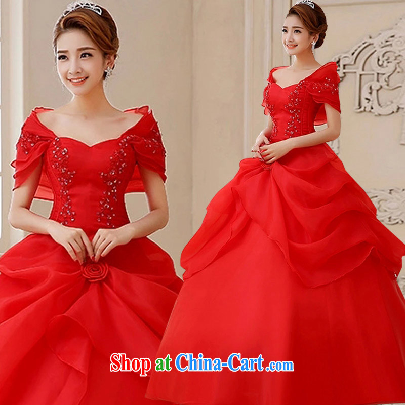 married love 2015 new dual-shoulder red wedding, wedding dresses thick mm video thin package shoulder pregnant wedding spring and summer Korean red XXXL