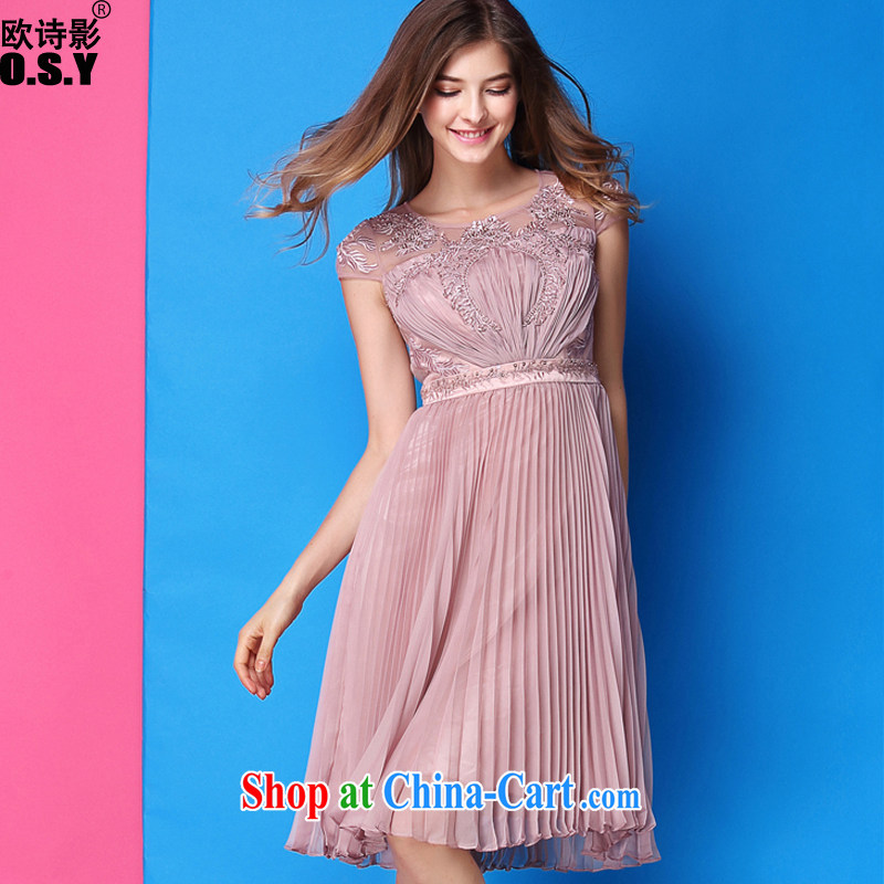 The poetry film 2015 spring and summer new European luxury fashion and the Pearl River Delta (PRD 100 hem hem beauty dress dresses and pink XL