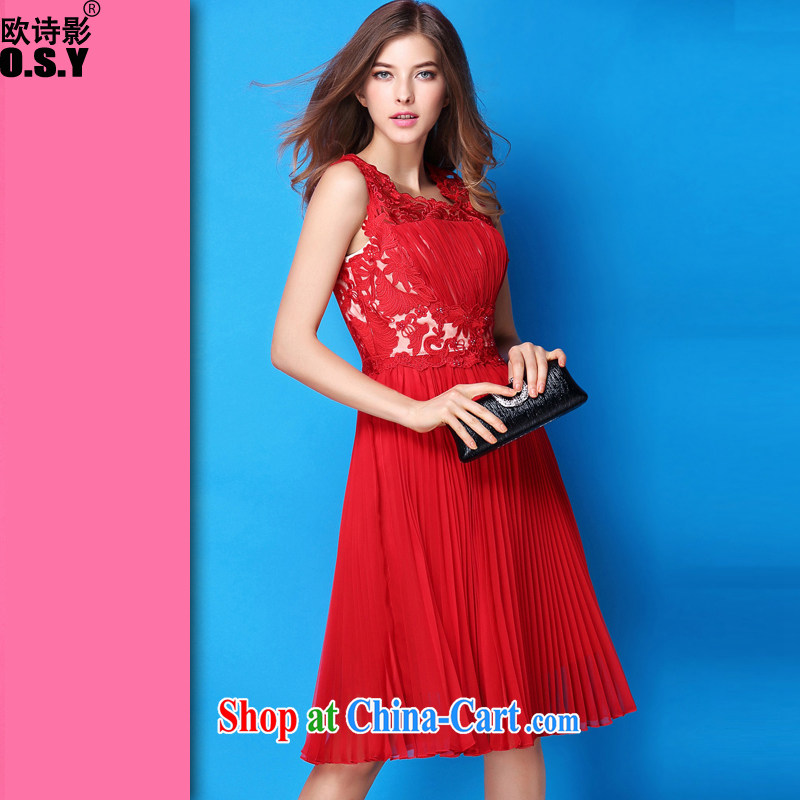 The poetry shadow summer new Openwork embroidery beads staples high waist 100 hem dresses marriage small red dress uniform toast girl skirt red XL