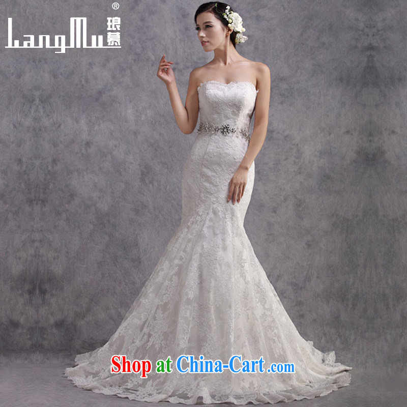 The lang 2015 new crowsfoot large tail marriages wedding dresses the waist beauty graphics thin custom white advanced customization