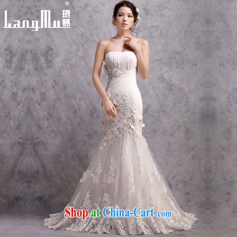In Luang Prabang in 2015 of new wedding dresses bare chest trendy tail crowsfoot package and wedding sexy beauty graphics thin custom white advanced customization