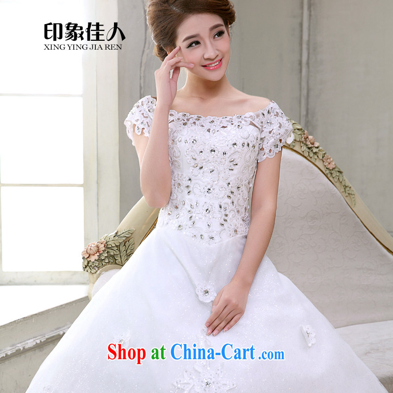 Impression Leigh 2015 new lace a shoulder collar Princess shaggy dress wedding bridal wedding dress summer XL