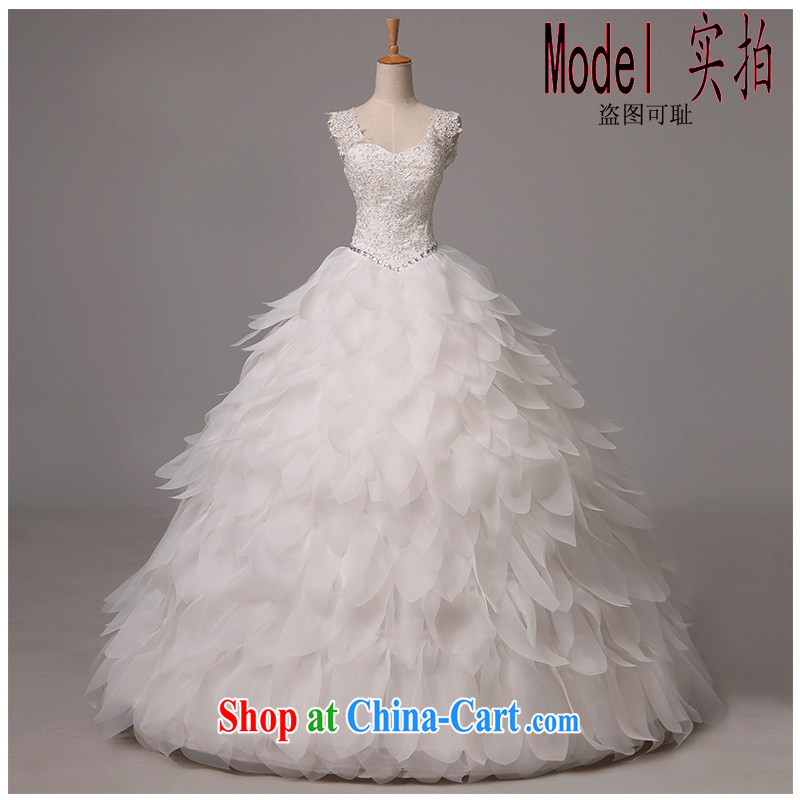 The beautiful yarn 2015 summer new dual-shoulder sleeveless plain manual staple Pearl multi-level with a computer chip wedding photo building bridal exclusive wedding made white XL
