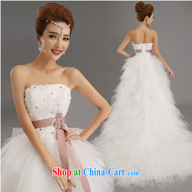 Pure bamboo love yarn upscale luxury short before long-tail wedding dresses new bag shoulder diamond jewelry Princess bride wedding 2015 lace H 6289 white XXL