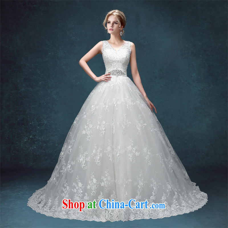 Kou Connie wedding with wedding 2015 spring and summer new, Korean-style embroidery bridal white tail, shoulders graphics thin wedding white with a tailored final 7 day
