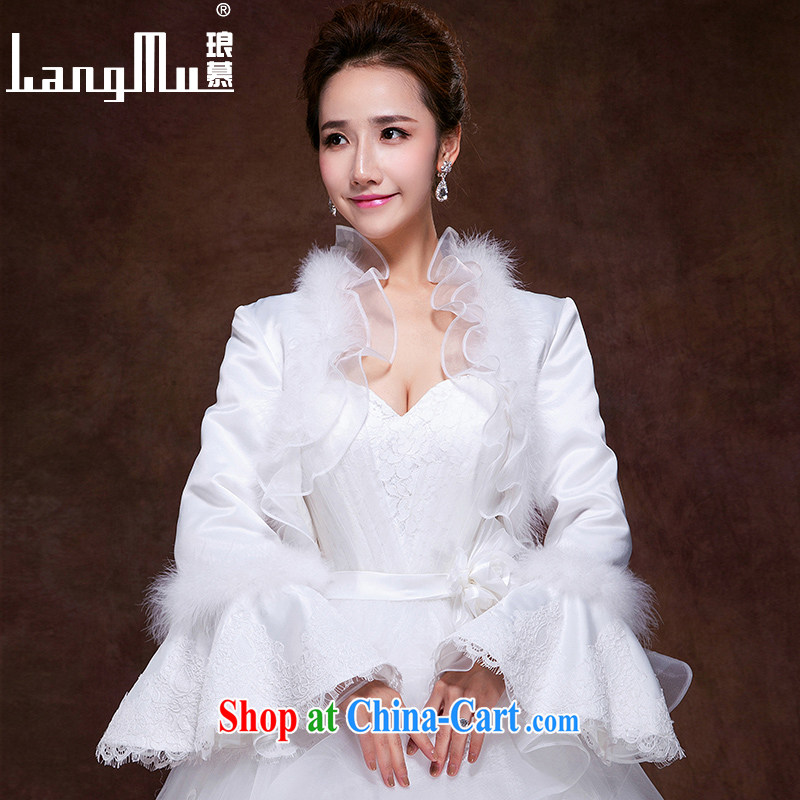 In Luang Prabang in 2015 of new long-sleeved wool collar shawl bridal wedding dresses the mandatory shawl noble spaniel leaders shawl white L