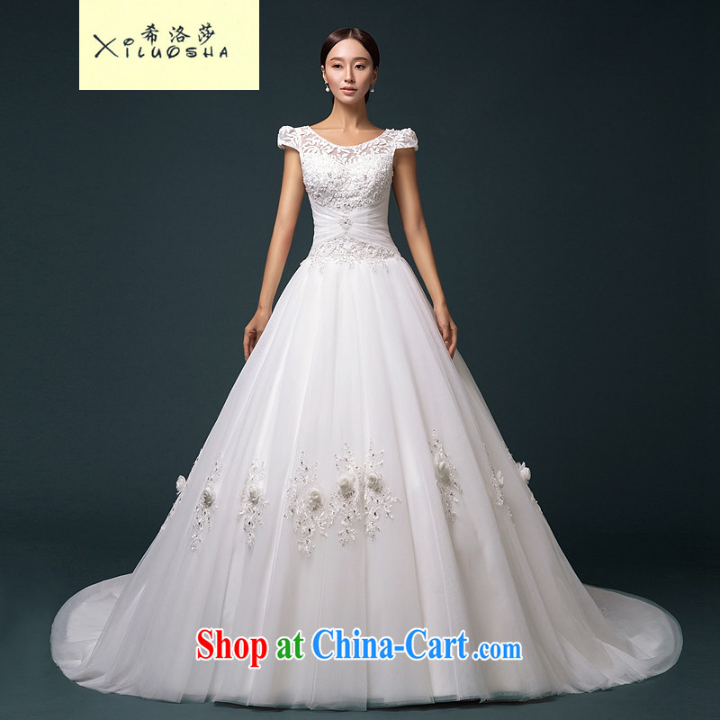 The Greek, Mona Lisa (XILUOSHA) bridal wedding flowers with a cuff round-collar wedding dresses the tail wedding double shoulder strap wedding white XL