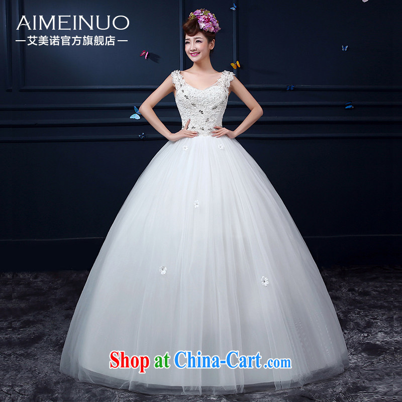 The United States, wedding summer 2015 new Korean bridal beauty V collar double-shoulder lace flowers Princess with yarn strap A BH 15 89 white XXL _waist two feet 3_