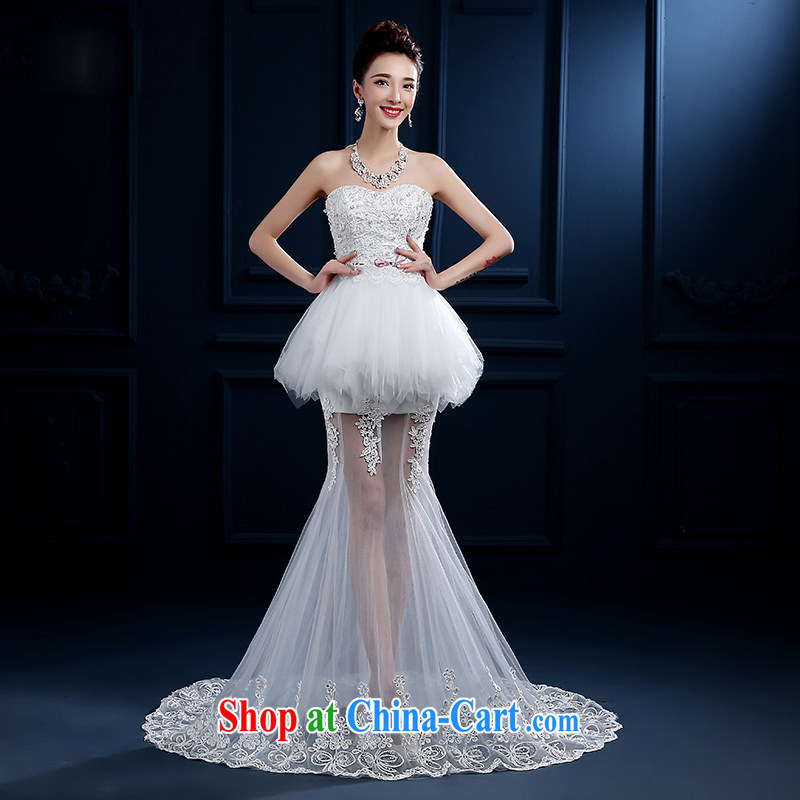2015 bridal upscale Custom Field shoulder bare chest straps spring wedding dresses red stylish long-tail luxury photography, new white M