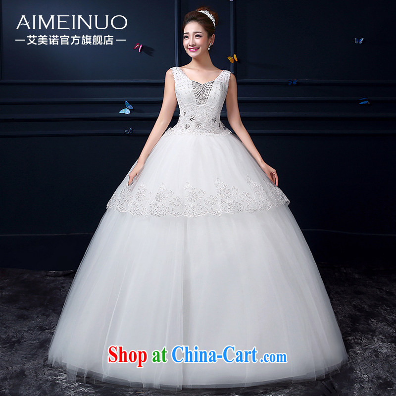 The United States, wedding dresses summer 2015 new Korean gauze shoulders with bridal graphics thin wedding lace flower parquet drill A BH 15 92 white XXL (waist two feet 3)
