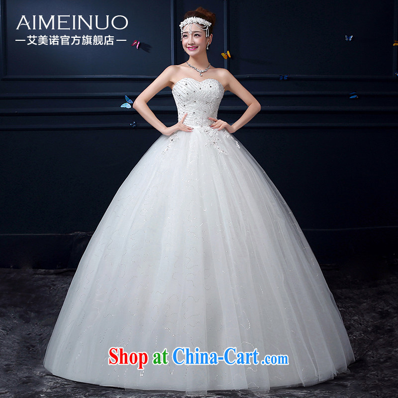The United States and the wedding dresses summer 2015 new Korean bridal heart wiped his chest and yarn sweet Princess beauty tie A BH 15 95 white XXL (waist two feet 3)