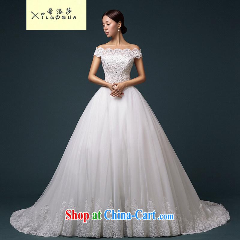 The Greek, Mona Lisa (XILUOSHA) brides field shoulder wedding tail Korean wedding lace straps wedding dresses 2015 new white tail XL