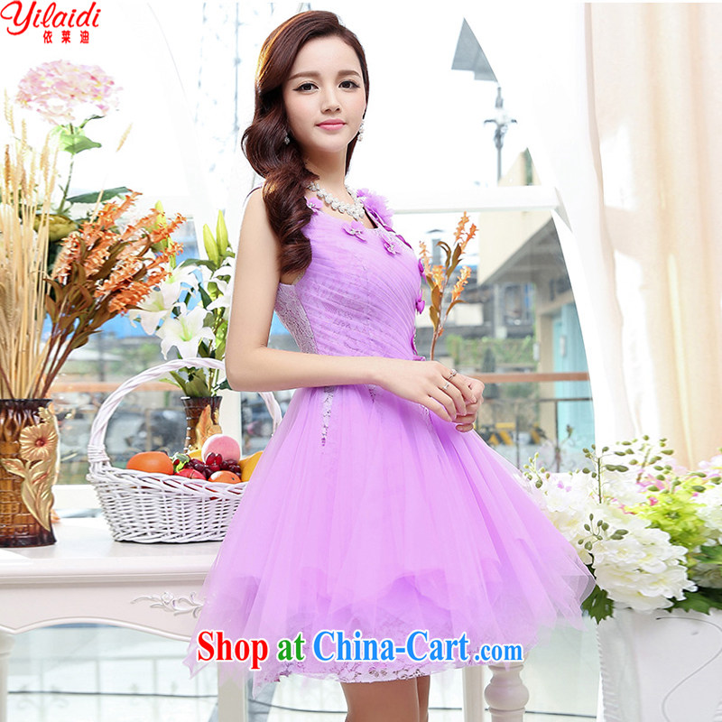 According to Tony BLAIR's - 20,154 quarter new Korean beauty, gas round-collar sleeveless style shaggy 100 stylish and dress wedding dress female light purple XL