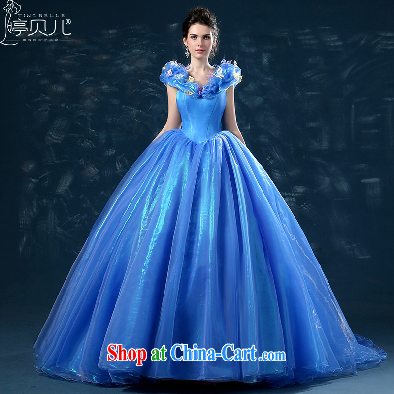 Ting Beverly Cinderella, The 2015 summer wedding dresses new Cinderella shoulders marriages a shoulder-tail blue tailored