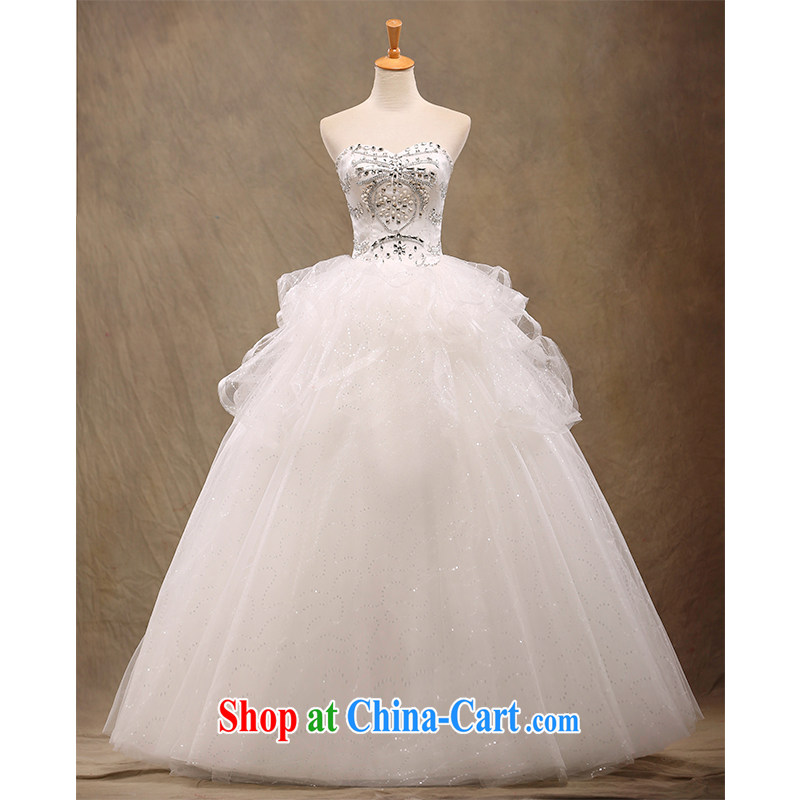 The beautiful yarn wiped his chest, wedding A with Korean Beauty tied with graphics thin brides with drill marriage wedding dresses 2015 New Products Factory direct made white customizable