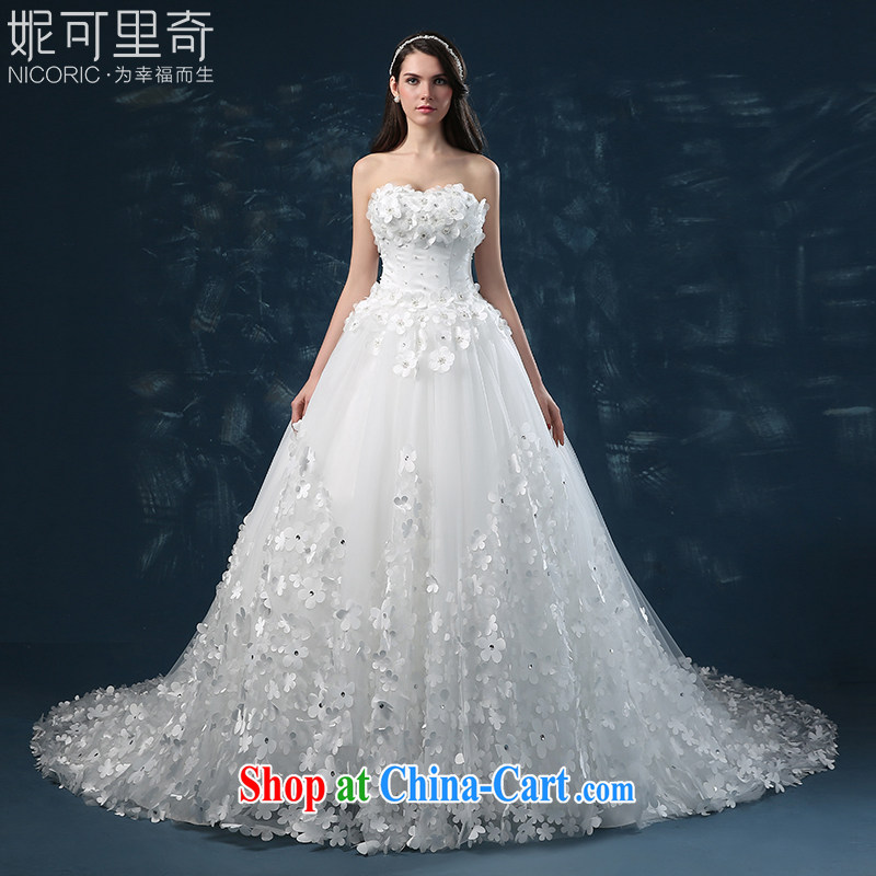 wedding dresses 2015 summer new erase chest flowers large tail bridal wedding high-end custom European tie-cultivating white XXL (3 - 5 Day Shipping)