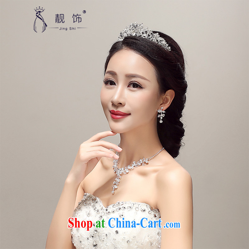 Beautiful ornaments 2015 new brides and only US-Korea-water drilling Crown necklace earrings 3 piece wedding accessories wedding supplies white