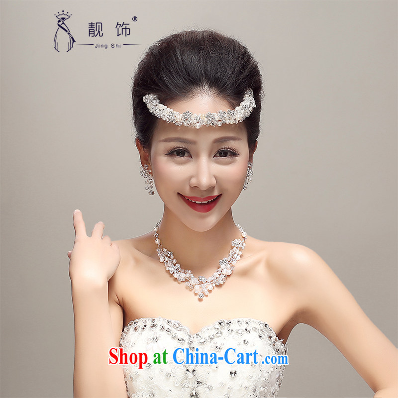 Thanks for trim manual New pearl water drilling bridal Crown hair clamp hair accessories necklaces earrings 3 piece white