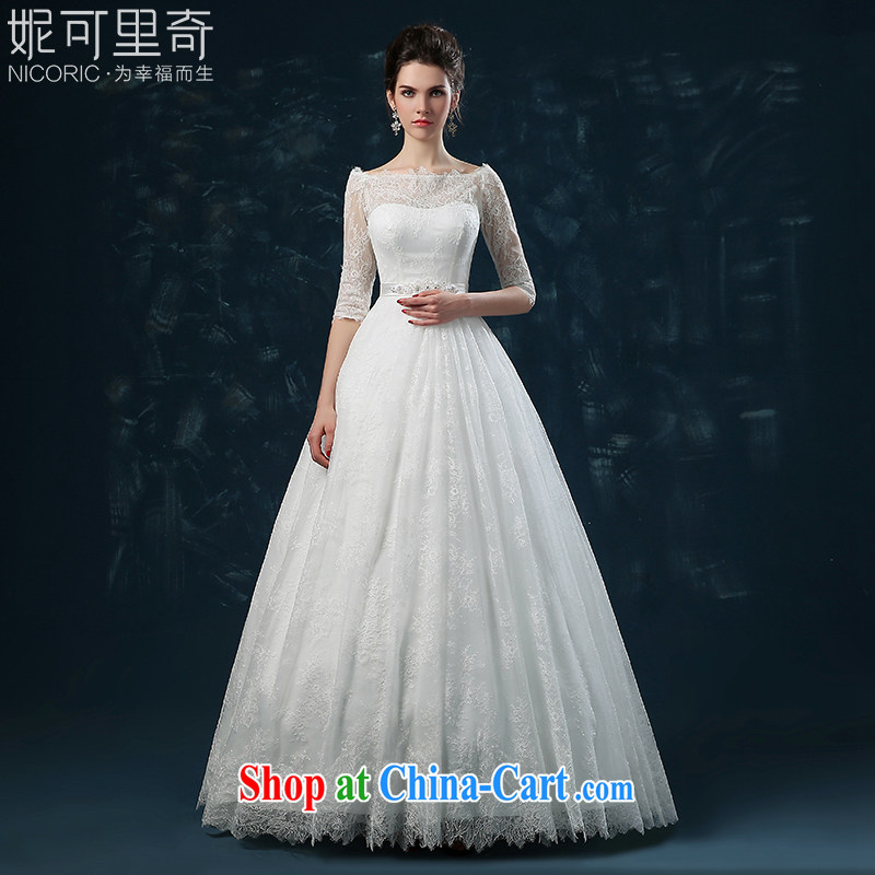 wedding dresses 2015 new summer bridal long-sleeved one shoulder wedding dresses with straps lace cultivating the code white XXL (3 - 5 Day Shipping)