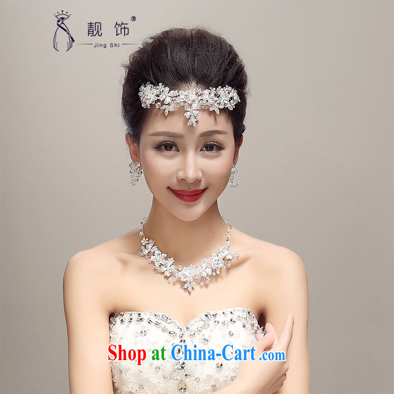 Beautiful ornaments 2015 new Korean-style water drilling sweet head-dress bridal wedding Crown necklace earrings 3 piece white
