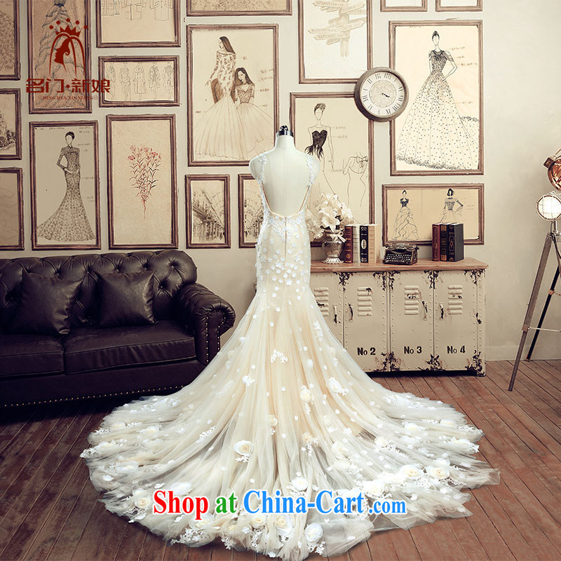 The bride's dress 2015 new wedding-tail crowsfoot wedding champagne color manually spent 2606 A, tailor the 20 per cent