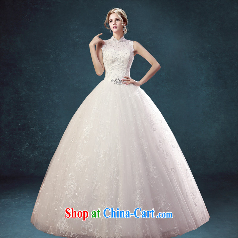 Connie crackdown new stylish Korean version, for package shoulder wedding dresses US-Korea beauty graphics thin straps with high collar lace white tailored final 7 day
