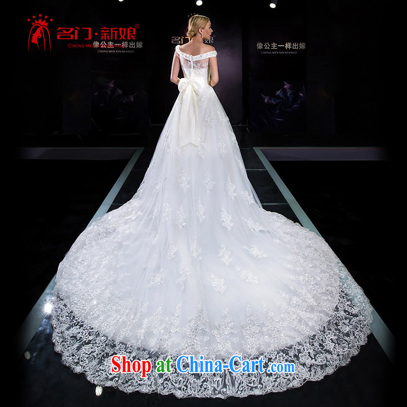 The bride's 2015 summer wedding dresses the Field shoulder wedding tail marriage wedding 5640 white L