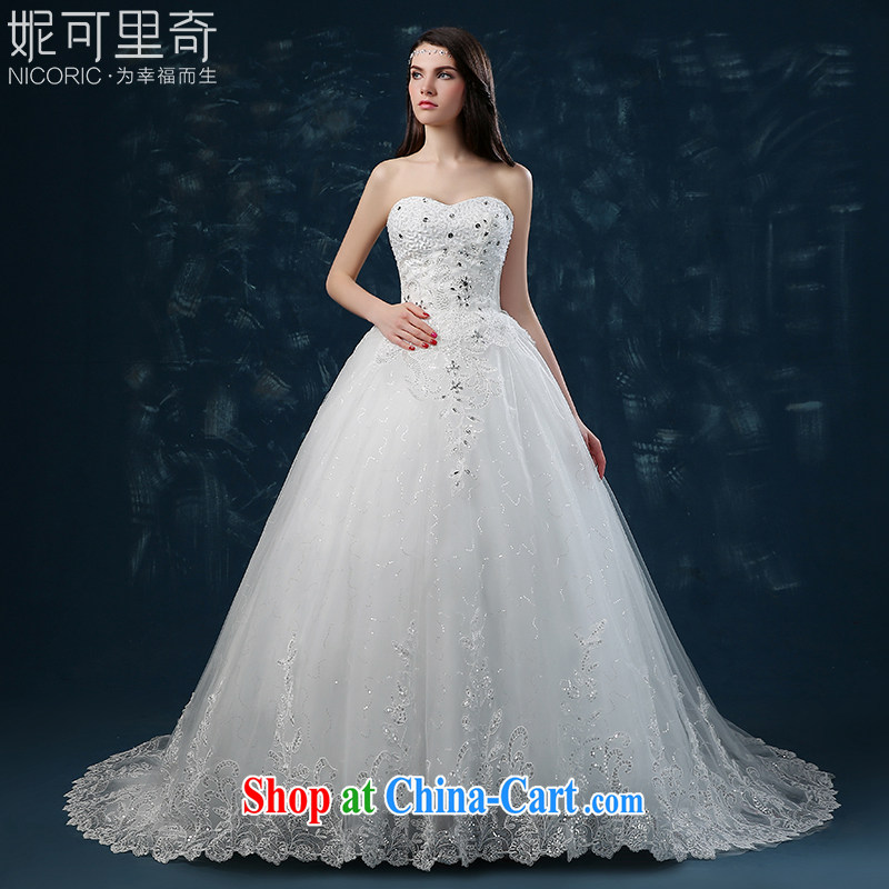 wedding dresses 2015 new summer fashion Korean bridal wiped his chest parquet drill wedding tail beauty wedding dresses tied with a white XXL _3 - 5 Day Shipping_