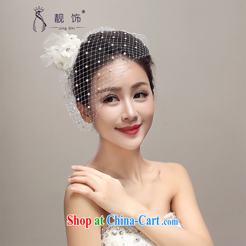 Beautiful ornaments 2015 New pearl Web yarn head hats bridal wedding supplies wedding dresses with white