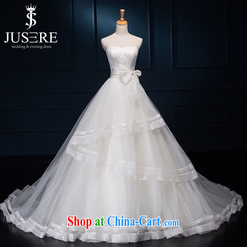 It is the JUSERE high-end wedding dresses Korean wiped chest bow-tie little princess beauty graphics thin wedding bridal wedding dress with small tail dress with white tailored