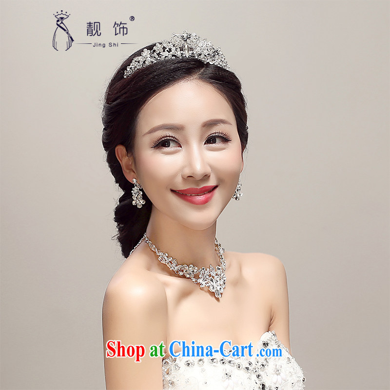 Beautiful ornaments 2015 new bridal Crown earrings necklace 3 piece wedding dresses accessories wedding supplies white