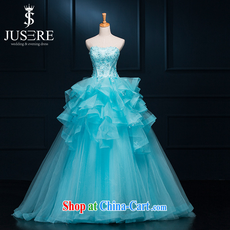 It is not the JUSERE high-end wedding dresses dream blue bridal wedding dress with Princess dress with wedding dresses lace 100 Mary Magdalene hem chest shaggy skirts cyan tailored