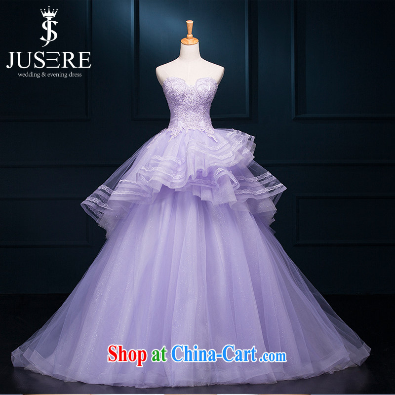 It is the JUSERE high-end wedding dresses dream purple bridal wedding dress with small tail Princess dress with wedding 100 hem shaggy dress light purple tailored