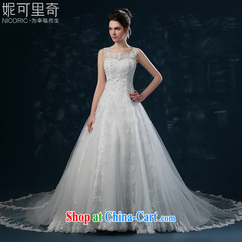 wedding dresses 2015 new summer double-shoulder lace-tail wedding beauty Korean marriages wedding band female white XXL (3 - 5 Day Shipping)