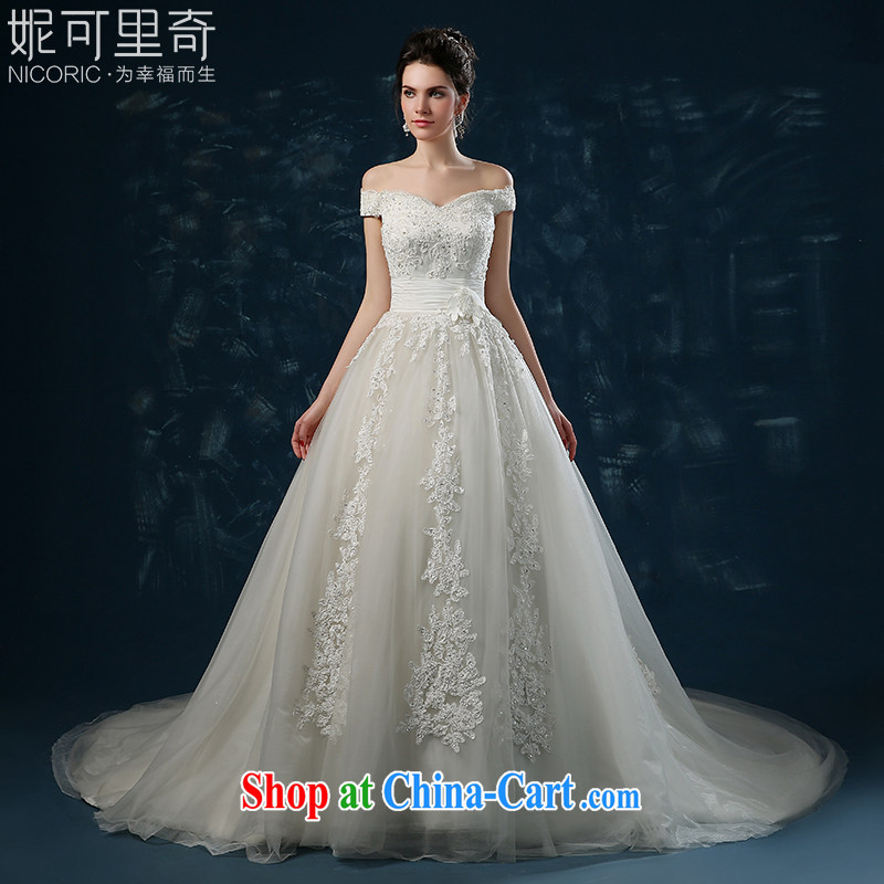 wedding dresses 2015 spring Korean wedding dress a Field shoulder summer bridal wedding tail Mary Magdalene beauty chest graphics thin female white XXL (3 - 5 Day Shipping)