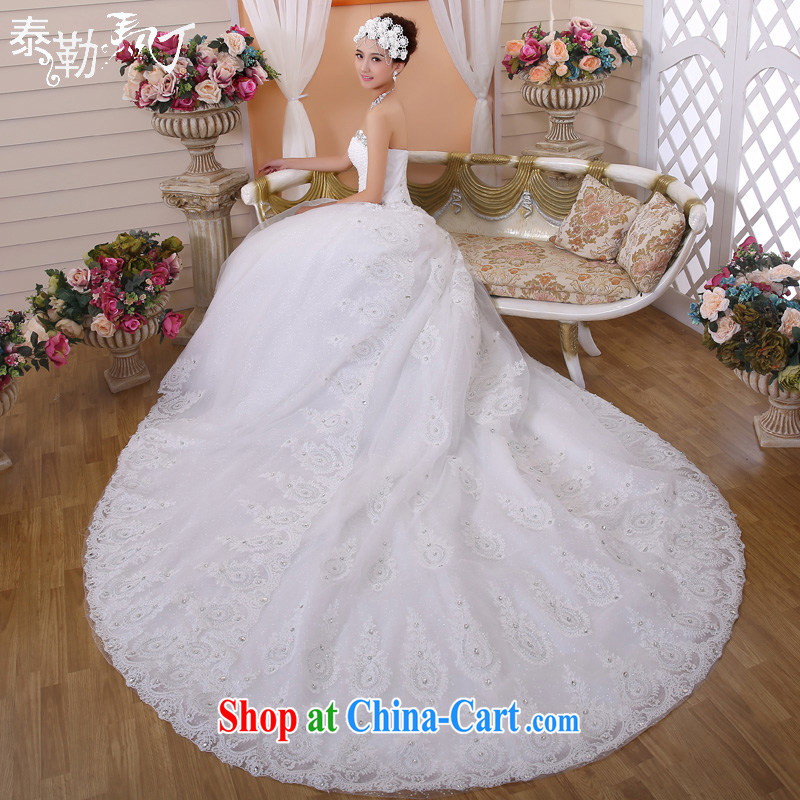 President Taylor Martin 2015 new tail wedding dresses spring and summer marriages the code beauty graphics thin smears chest luxury wedding white advanced custom pre-sale,