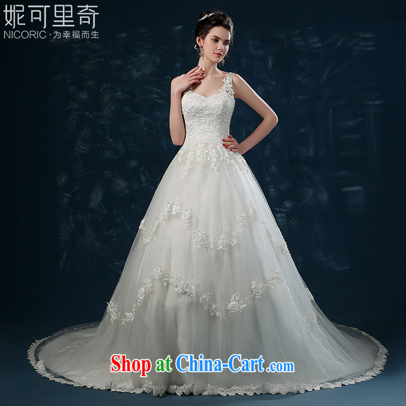 Wedding summer 2015 new dual-shoulder lace tail wedding summer wedding dress bridal wedding, tie wedding white XXL _3 - 5 Day Shipping_