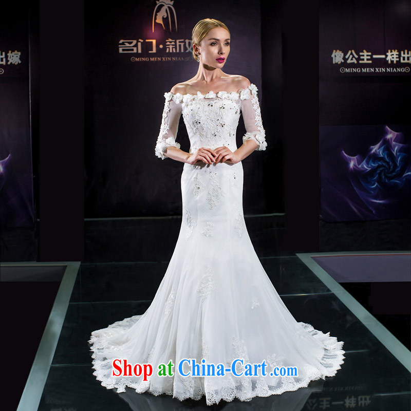 The bride's wedding dresses new 2015 wedding tail crowsfoot wedding Original Design 2582 white XL