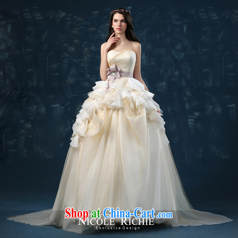 Bridal Suite 2015 new summer wedding bridal wedding small tail erase chest strap wedding Princess shaggy dress champagne color champagne color XXL (3 - 5 Day Shipping)