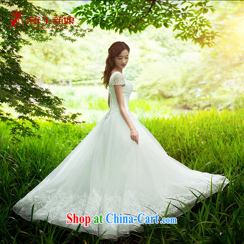 The bride's wedding dresses spring 2015 Europe brides wedding shoulders wedding Korean custom 2589 XL