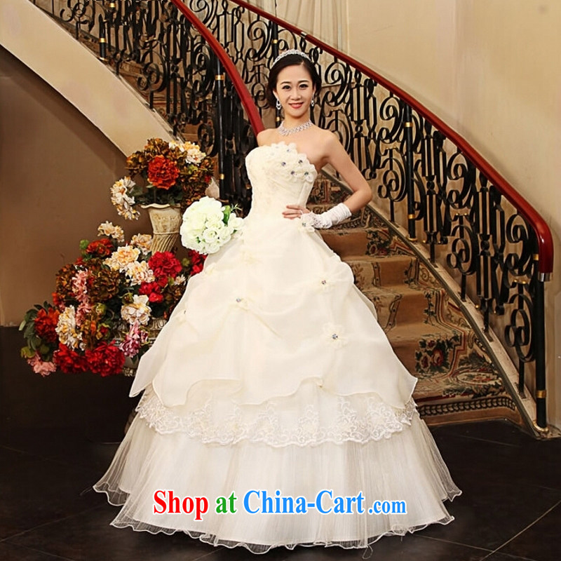 Yong-yan and new 2015 Korean sweet Princess wedding dresses with bare chest retro flouncing flowers tied with a wedding dresses white XXL, Yong-yan good offices, shopping on the Internet