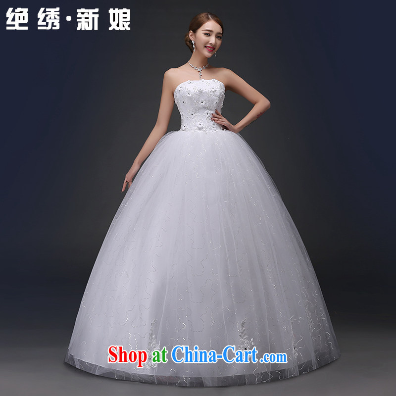 There is embroidery bridal 2015 marriages Korean white wedding Princess shaggy wiped his chest, wedding white XXXL 2 feet 4 waist Suzhou shipping