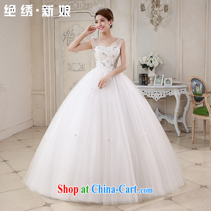 There is a bride's Korean-style stylish summer sweet tied with elegant wedding sexy shoulders V waters drilling tied with shaggy dress wedding white tailored is not returned.