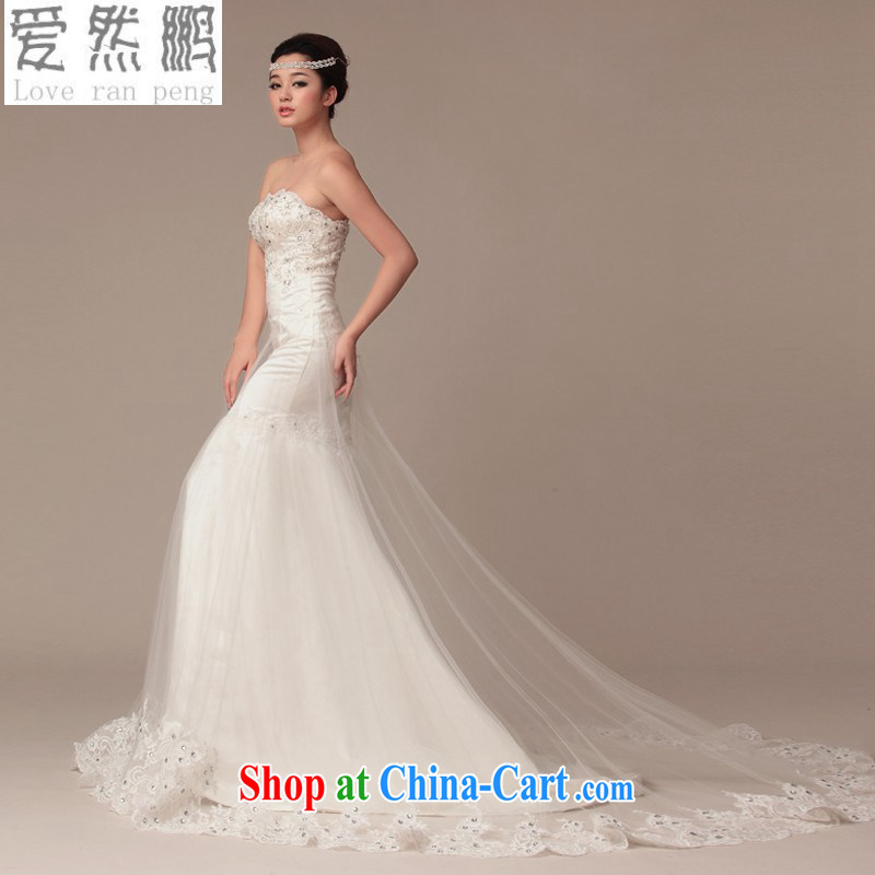 wedding dresses 2015 spring and summer new prettier wiped his chest tied with satin lace long-tail crowsfoot wedding. size is not returned.