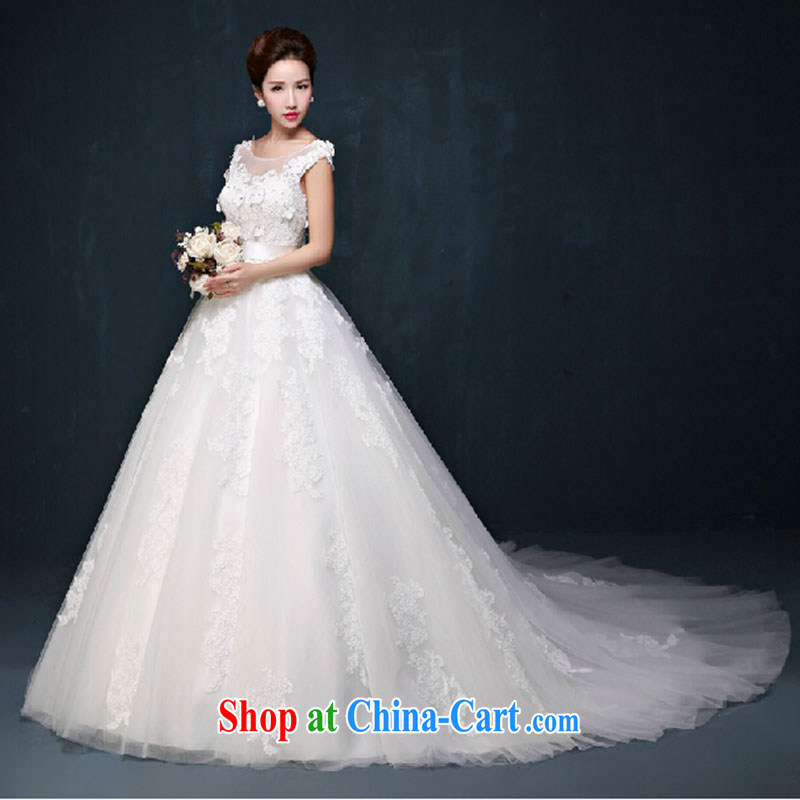 wedding dresses new Korean layout double-shoulder with A swing wedding custom bridal graphics thin the Field shoulder wedding dresses white tail. size does not return does not switch