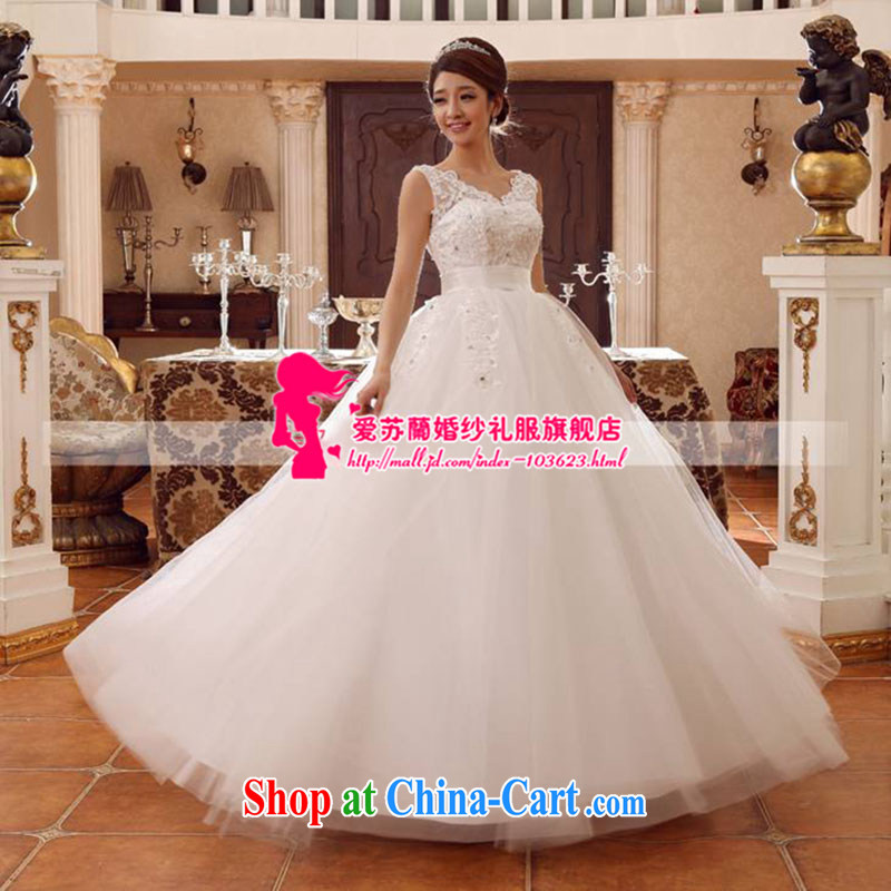 New wedding double-shoulder V collar style wedding marriage spring and summer wedding high-waist Korean version of the greater code wedding white. size does not return does not switch