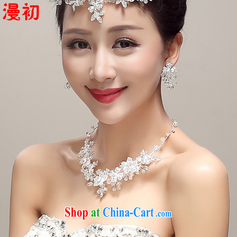 Early definition 2015 new bridal Crown necklace earrings 3 piece water drilling sweet manual head-dress wedding dresses with white