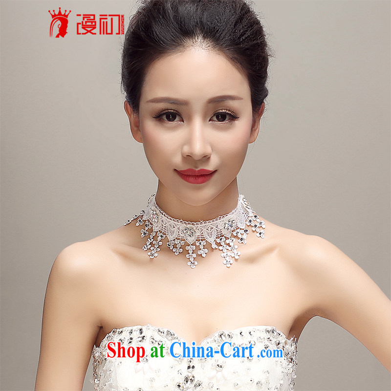 Early definition 2015 new Japan and South Korea and the United States only lace diamond necklace bridal wedding dresses accessories wedding supplies white