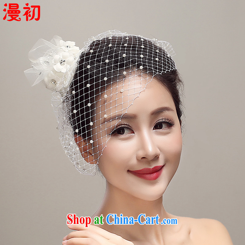 Early definition 2015 new Japan-ROK buds silk yarn hat bridal head-dress wedding dress accessories wedding supplies white
